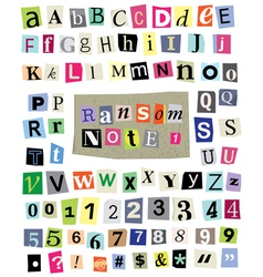 Ransom note 1- cut paper letters numbers vector