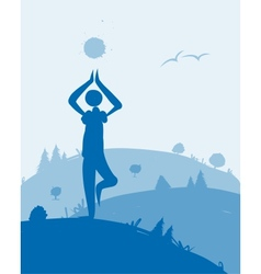Yoga at dawn landscape for your design vector