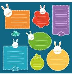 Set of tags with hand drawn easter bunny head and vector