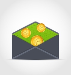 Open envelope with golden coins for st patricks vector