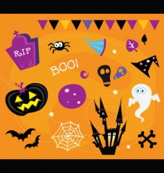 Halloween icons and design elements vector