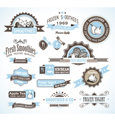 Diary beverage labels vector