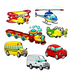 Funny vehicles vector