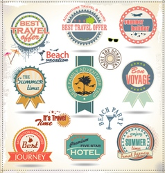 Vintage summer labels vector