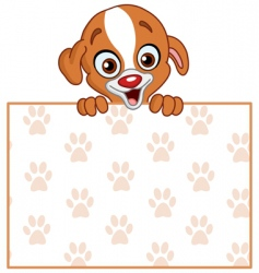 Puppy with sign vector