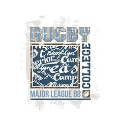 College print rugby team vector