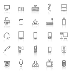 Gadget line icons with reflect on white vector