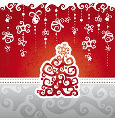 Christmas card with abstract tree vector