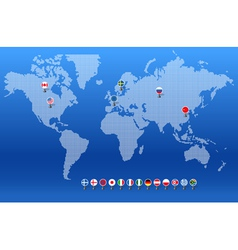 World map with set of different countries flags vector