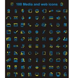 Mega media set of 100 icons vector