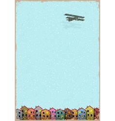 Paper little town with aeroplane winter vector