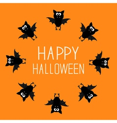 Cute bat round frame happy halloween card orange vector