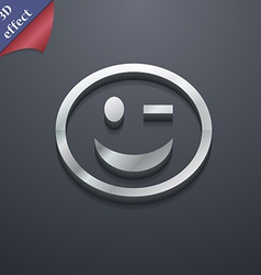 Winking face icon symbol 3d style trendy modern vector