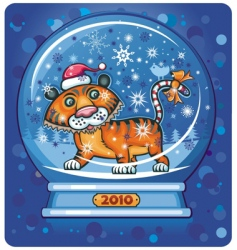 Tiger in snow-dome vector