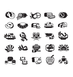 Food meat seafood baked goods set of icons vector