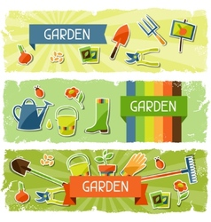 Banners with garden sticker design elements and vector