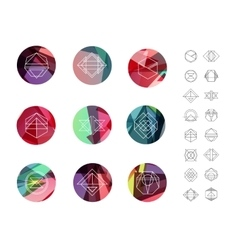 Set of colored crystal circles in polygon style vector