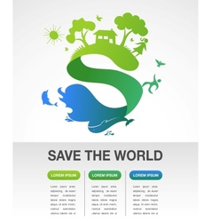 Save the world - nature and ecology infographics vector