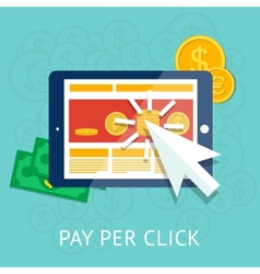 Pay per click with business tablet and money vector