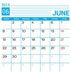 June 2015 calendar page template vector