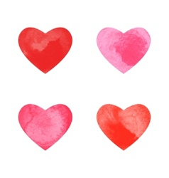 Collection of watercolor hearts vector