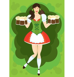Waitress with beer vector
