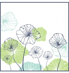 Card with cute abstract flowers vector