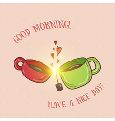 Good morning - kissing cups vector
