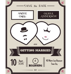 Wedding invitation vintage card the template vector