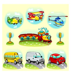 Funny vehicles with background vector