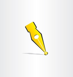 Fountain pen yellow symbol design vector