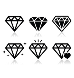 Diamond icons set vector