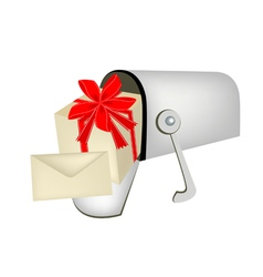 A gift box with gift card in mailbox vector