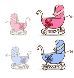 Baby stroller for girls and boys vector