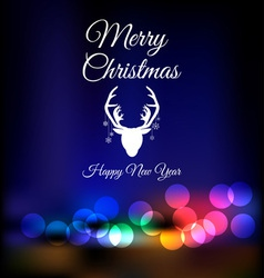 Christmas reindeer on bokeh background vector
