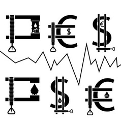 Dollar euro and oil barrel in clamp financial vector