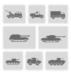 Icon set with military equipment vector