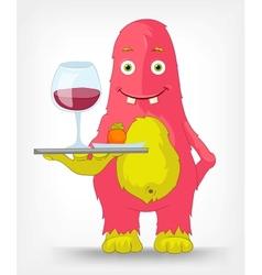 Funny monster waiter vector