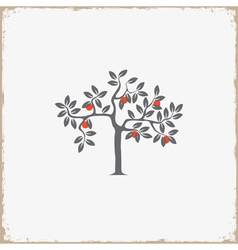 Silhouette of apple tree on grunge background vector