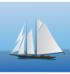 Big sailing yacht in the sea landscape vector