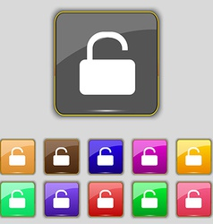 Open padlock icon sign set with eleven colored vector