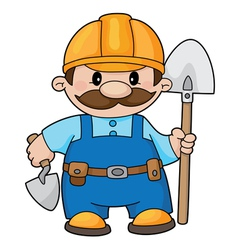 Builder with a shovel vector