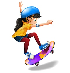 A young girl skateboarding vector