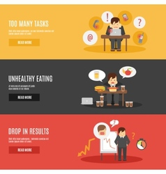 Stress at work flat banners set vector