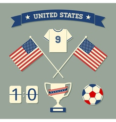 Flat design us soccer icons symbols decoration vector