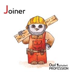 Alphabet professions owl letter j - joiner vector