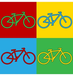 Pop art bike icons vector
