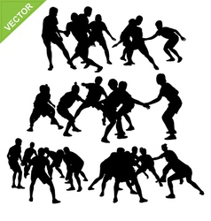 Kabaddi player silhouettes vector