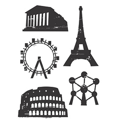 Grunge famous european building vector