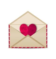 Open vintage envelope with paper grunge heart - vector